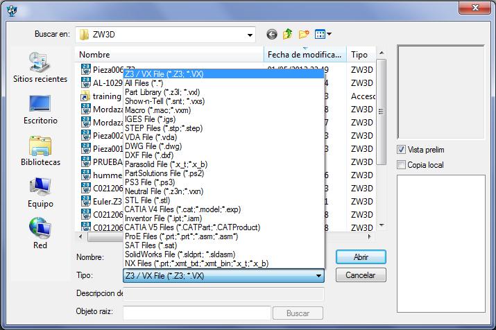 archivos importación con ZW3D